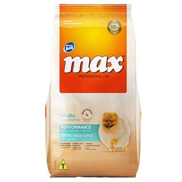 Ração Max Professional Line para Cães Adultos Raças Pequenas Sabor Cordeiro, Frango e Arroz