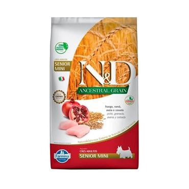 Ração N&D Ancestral Grain Cães Sênior Raças Pequenas Mini Breeds Frango e Romã