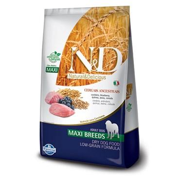 Ração N&D Cereais Ancestrais Para Cães Adultos Raças Grandes Sabor Cordeiro e Blueberry 10,1 kg