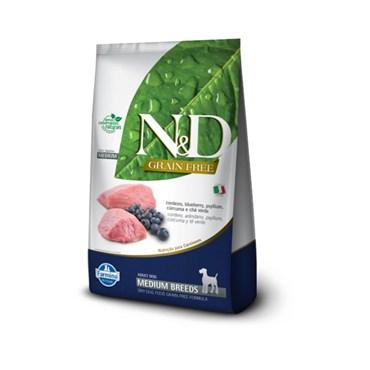 Ração N&D Prime Grain Free Cães Adultos Raças Médias Medium Breeds Cordeiro e Blueberry 10,1kg