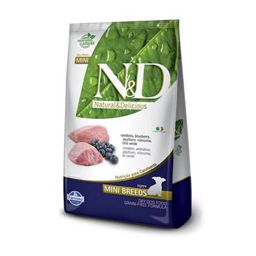 Ração N&D Prime Grain Free Cães Filhotes Raças Pequenas Mini Breeds Cordeiro e Blueberry