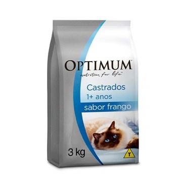 Ração Optimum Sabor Frango para Gatos Adultos Castrados 3kg