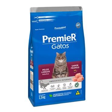 Ração Premier Ambientes Internos Gatos Adultos Pelos Longos Sabor Frango 1,5kg