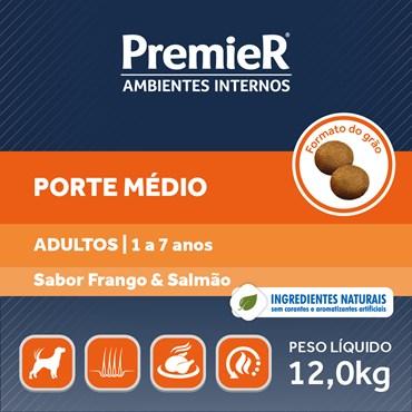Ração Premier Ambientes Internos Para Cães Adultos de Porte Médio Frango e Salmão
