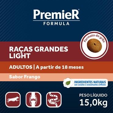 Ração Premier Fórmula Light Para Cães Adultos Raças Grandes Sabor Frango 15kg