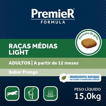 Ração Premier Fórmula Light Para Cães Adultos Raças Médias Sabor Frango 15kg