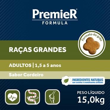 Ração Premier Fórmula Para Cães Adultos Raças Grandes e Gigantes Sabor Cordeiro 15kg