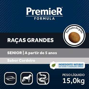 Ração Premier Fórmula Para Cães Sênior Raças Grandes Sabor Cordeiro 15kg