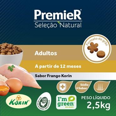 Ração Premier Seleção Natural Cães Adultos Raças Médias e Grandes Sabor Proteína de Frango