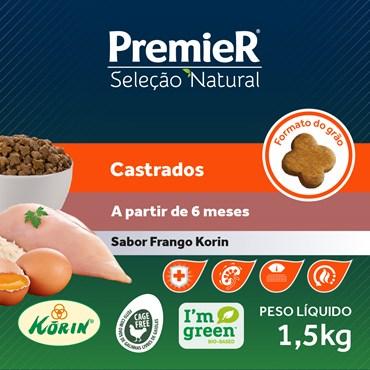 Ração Premier Seleção Natural para Gatos Adultos Castrados Sabor Frango
