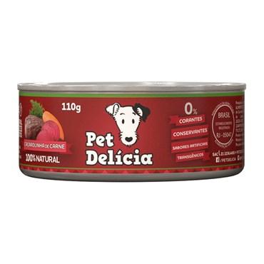 Ração Úmida Natural Pet Delícia Caçarolinha de Carne Para Cães Adultos Lata 110g