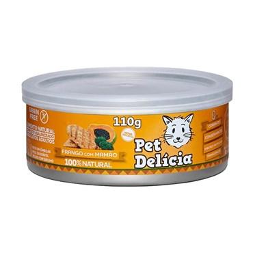 Ração Úmida Natural Pet Delícia Frango Com Mamão Gatos Adultos Lata 110g