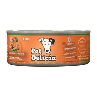 Ração Úmida Natural Pet Delícia Jardineira de Frango Para Cães Adultos Lata 110g