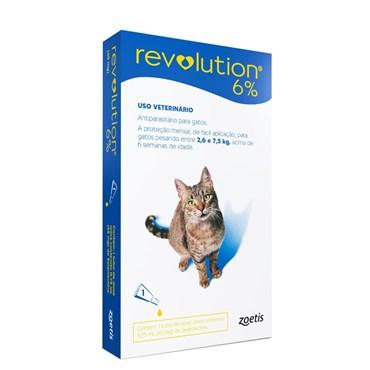 Revolution 6% 0,75 ml - Gatos de 2,6 a 7,5 Kg - Contém 1 Pipeta Avulsa - Zoetis