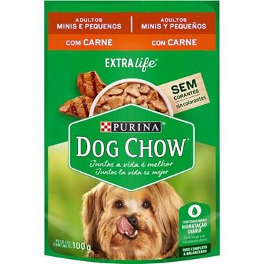 Sachê Dog Chow Extra Life Cães Adultos Raças Pequenas Sabor Carne ao Molho 100g
