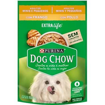 Sachê Dog Chow Extra Life para Cães Adultos Raças Pequenas Sabor Frango 100g