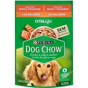 Sachê Dog Chow Extra Life para Cães Adultos Raças Pequenas Sabor Salmão 100g