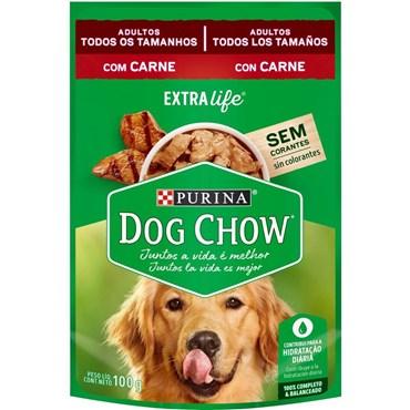 Sachê Dog Chow para Cães Adultos Sabor Carne ao Molho 100g