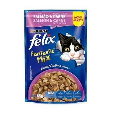 Sachê Felix Fantastic para Gatos Adultos Sabor Mix Salmão e Carne 85g