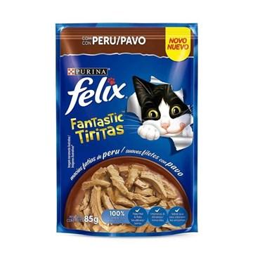 Sachê Felix Fantastic Tiritas para Gatos Adultos Sabor Peru 85g