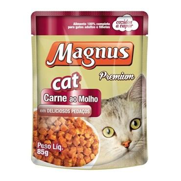 Sachê Magnus para Gatos Adultos Sabor Carne ao Molho 85g