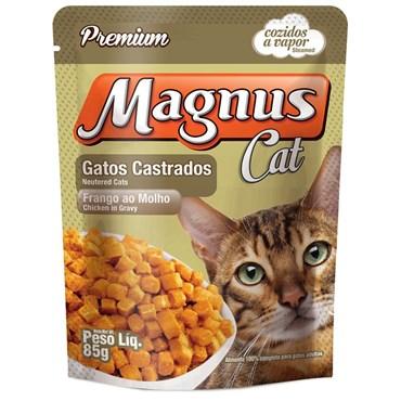 Sachê Magnus para Gatos Castrados Sabor Frango ao Molho 85g