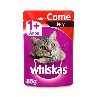 Sachê Whiskas para Gatos Acima de 1 Ano Sabor Carne Jelly 85g