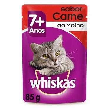 Sachê Whiskas para Gatos Acima de 7 Anos Sabor Carne ao Molho  85 g