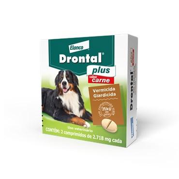 Vermífugo Drontal Plus para Cães 35 kg com 2 Comprimidos