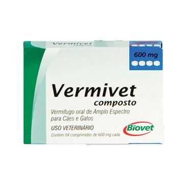 Vermífugo Oral para Cães e gatos Vermivet Composto 600 mg com 4 Comprimidos