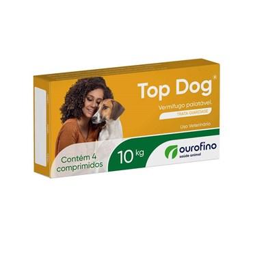 Vermífugo Palatável Top Dog 10kg com 4 comprimidos - Ouro Fino