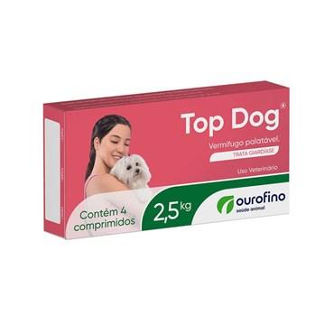 Vermífugo Palatável Top Dog 2,5kg com 4 comprimidos - Ouro Fino