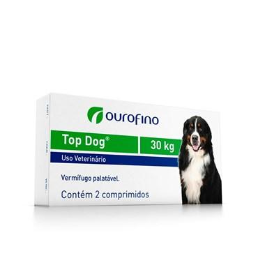 Vermífugo Palatável Top Dog 30kg com 2 comprimidos - Ouro Fino