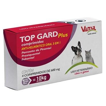Vermífugo Top Gard Plus para Cães e Gatos com 4 Comprimidos
