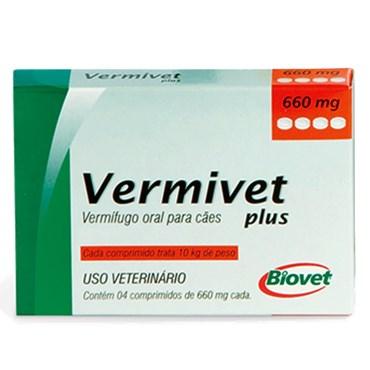 Vermífugo Vermivet Plus 660 mg para Cães com 4 Comprimidos
