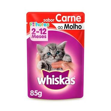 Whiskas Sachê Para Gatos Filhotes de 2 a 12 Meses Sabor Carne ao Molho 85g